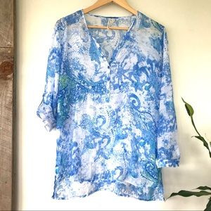 Sheer rayon print tunic top